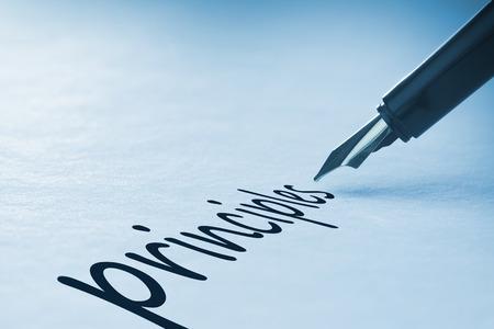 principles: Fountain pen writing the word principles