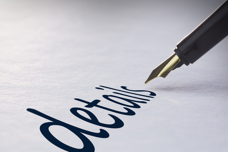 fountain pen writing: Fountain pen writing the word details Stock Photo