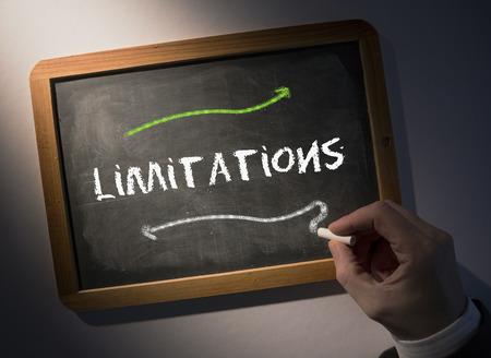 limitations: Hand writing the word limitations on black chalkboard Stock Photo