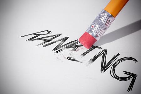 erasing: Pencil erasing the word ranking on paper