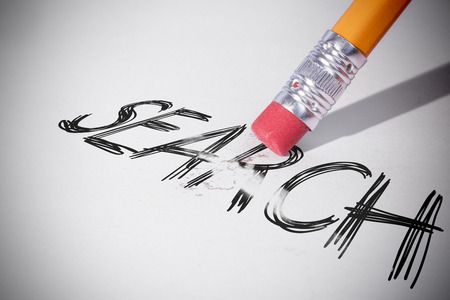 erasing: Pencil erasing the word search on paper Stock Photo