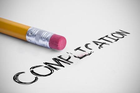 complicación: La palabra complicaci�n contra l�piz con una goma de borrar
