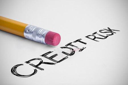 credit risk: The word credit risk against pencil with an eraser Stock Photo
