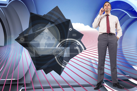 Thinking businessman holding glasses against pink pattern with cloud design on a futuristic structure photo
