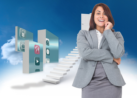 woman looking down: Smiling thoughtful businesswoman against steps leading to open door in the sky