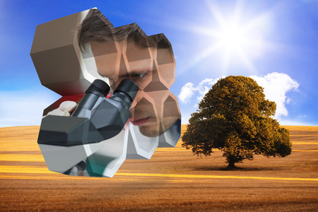 Scientist on abstract screen against sunny brown landscape photo