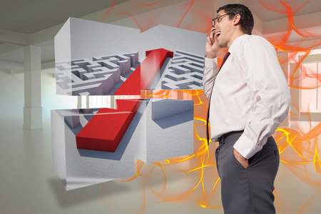 Thinking businessman touching his glasses against abstract design in orange Stock Photo - 26810363