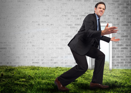 Businessman posing with arms outstretched against open door on wall on grass photo