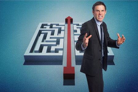 cutting through: Stressed businessman gesturing against red arrow cutting through puzzle Stock Photo
