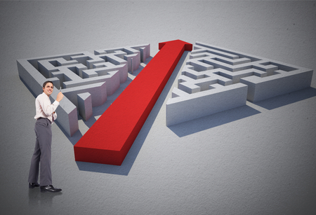 cutting through: Thinking businessman holding pen against red arrow cutting through puzzle