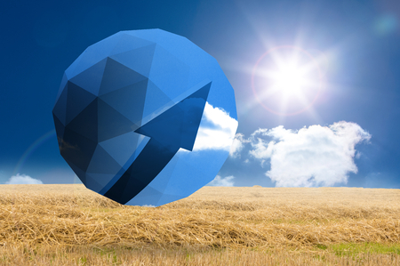 Blue arrow on abstract screen against sunny brown landscape photo