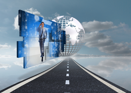 Businessman in data center on abstract screen against digitally generated earth floating over street photo