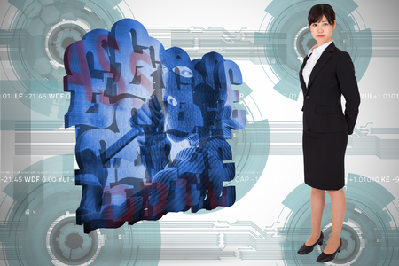 Serious businesswoman against technology wheel background photo