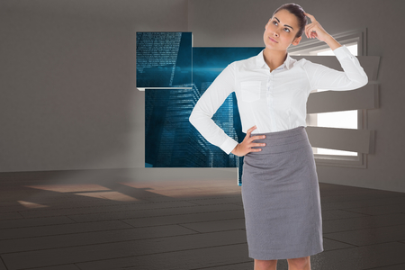 bordered: Worried businesswoman against digitally generated room with bordered up window Stock Photo