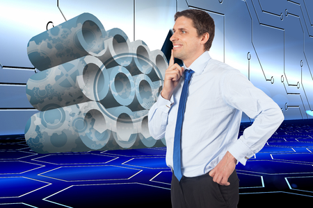 Thinking businessman touching his chin against arrow on technological background photo