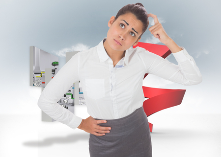 Worried businesswoman against red spiral arrow in the sky Stock Photo - 26814953