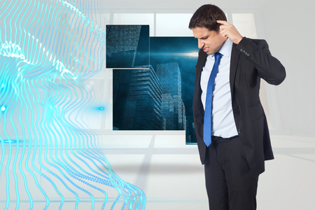 business skeptical: Thinking businessman scratching head against abstract blue design in white room