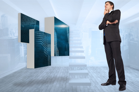 business skeptical: Thinking businessman touching chin against city scene in a room Stock Photo