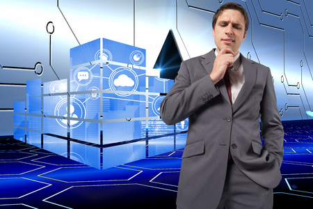 Thoughtful businessman with hand on chin against arrow on technological background photo