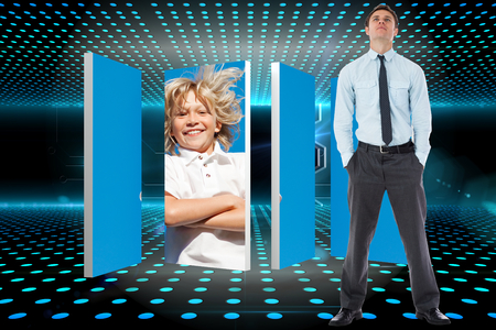 Serious businessman standing with hands in pockets against doorway on technological glowing background photo