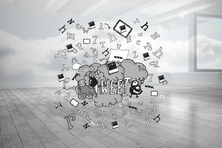 tweet: Tweet doodles against room with holographic cloud Stock Photo