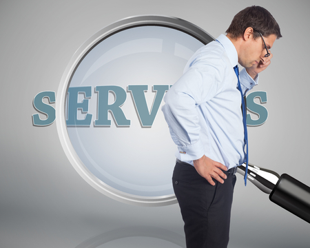 Thinking businessman tilting glasses against magnifying glass showing servers word photo