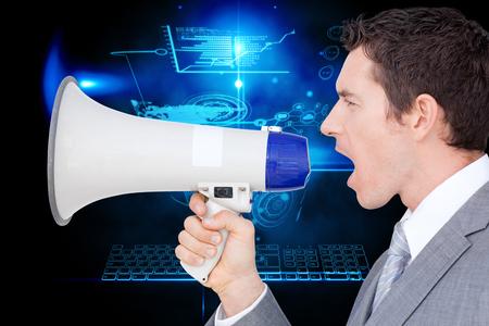 businessman using a megaphone: Businessman using a megaphone  against futuristic technology interface Stock Photo