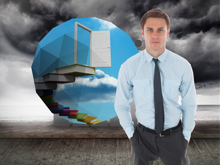 Serious businessman with hands in pockets against stormy sky on wall with statistic photo