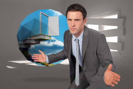 Businessman posing with hands out against digitally generated room with bordered up window photo