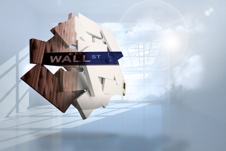 holographic: Wall street on abstract screen against room with holographic cloud Stock Photo