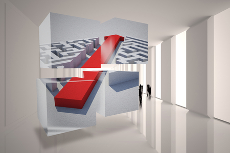 incidental people: Arrow through maze on abstract screen against tiny figures in bright room
