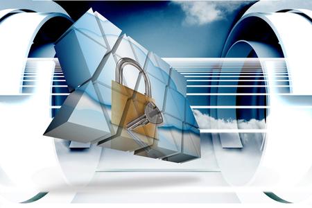 lock  futuristic: Serratura e chiave sullo schermo astratto contro disegno di nube abstract in struttura avveniristica