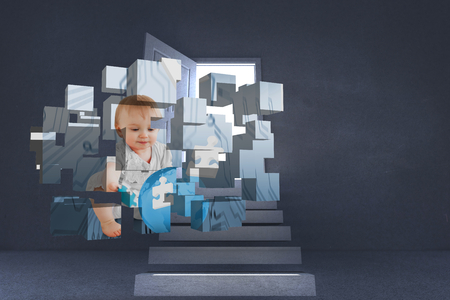 Baby genius on abstract screen against steps leading to open door showing light photo