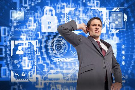 Thinking businessman scratching head against bright futuristic binary code spiral photo