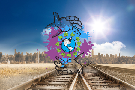 environmentalism: Environmentalism concept on paint splashes against train tracks leading to city under blue sky Stock Photo