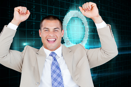Successful businessman punching the air against digital magnifying glass