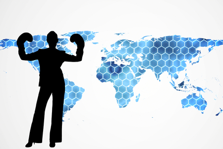 black empowerment: Composite image of background with hexagons and world map