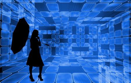 incidental people: Composite image of futuristic room of squares