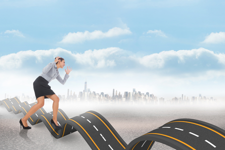 bumpy: Furious businesswoman gesturing against bumpy road backdrop