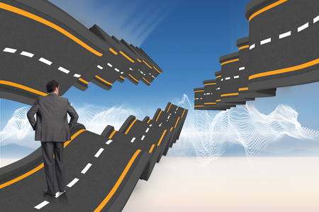 bumpy road: Businessman with hands on hips against bumpy road backdrop
