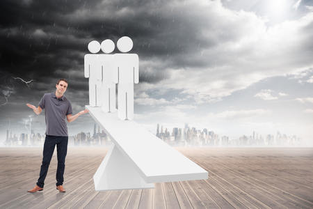 Man shrugging his shoulders against white human resource scales in front of city photo