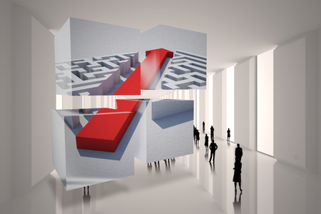 incidental people: Arrow through maze on abstract screen against tiny figures in huge hall Stock Photo