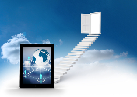 Globe and figures on tablet screen against steps leading to open door in the sky photo