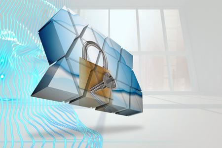 lock  futuristic: Serratura e chiave sullo schermo astratto contro disegno astratto blu in camera bianca Archivio Fotografico
