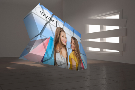bordered: Girls shopping on abstract screen against digitally generated room with bordered up window