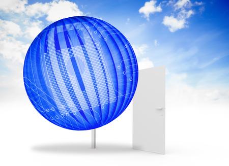 lock  futuristic: Immagine composita di serratura digitale sullo schermo astratto contro la porta aperta nel cielo