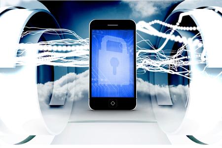lock  futuristic: Blocco blu sullo schermo dello smartphone contro le linee bianche con cielo disegno su una struttura avveniristica