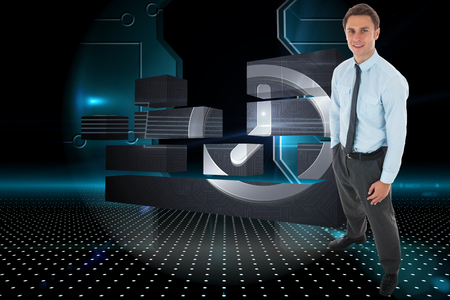 Happy businessman standing with hand in pocket against doorway on technological black background photo