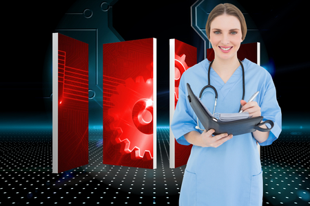 Female doctor writing into file against doorway on technological black background