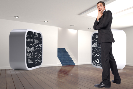 Thinking businessman touching chin against digitally generated room with stairs photo